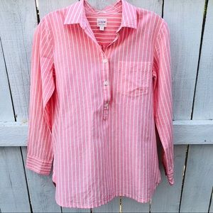 J Crew Blouse XS Linen Cotton Peach Pink Boy Fit